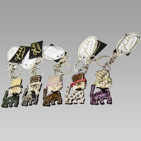 Ghibli Grey Brown Python Leather Kitten Cat Keychain Ghibli Grey ... 68d22490ae99