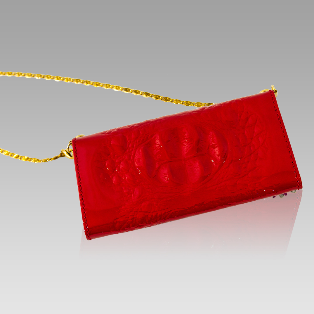 MARINO ORLANDI Red Alliagor Embossed Wallet Clutch w/Butterfly
