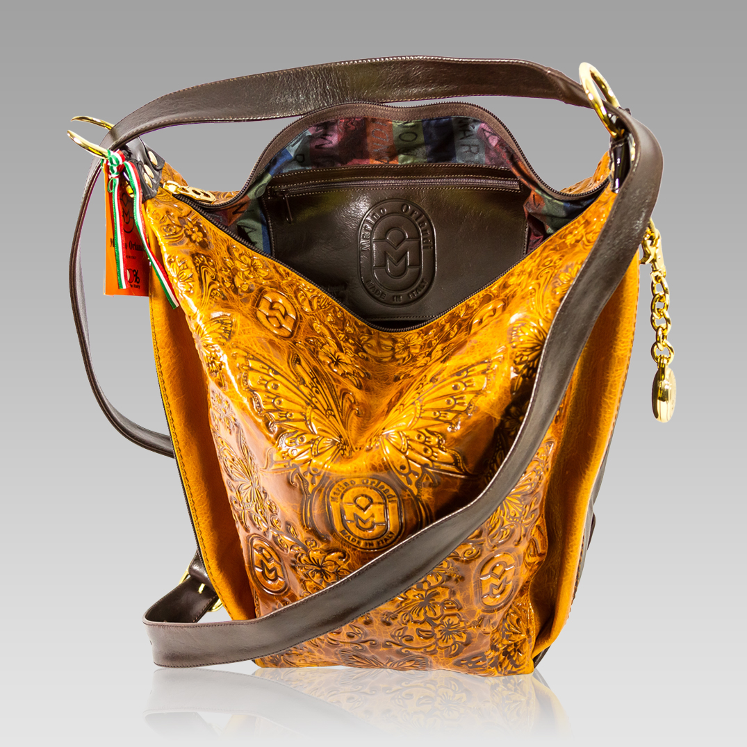 Marino Orlandi Bucket Sling Bag Embossed Cognac Leather