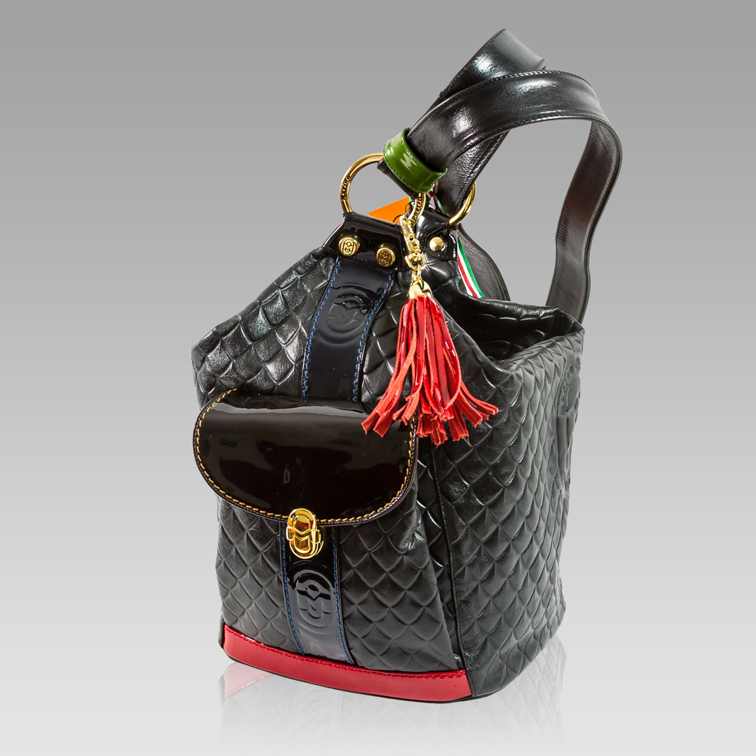 Marino Orlandi Quilted Black Leather Convertible Bucket Sling Bag