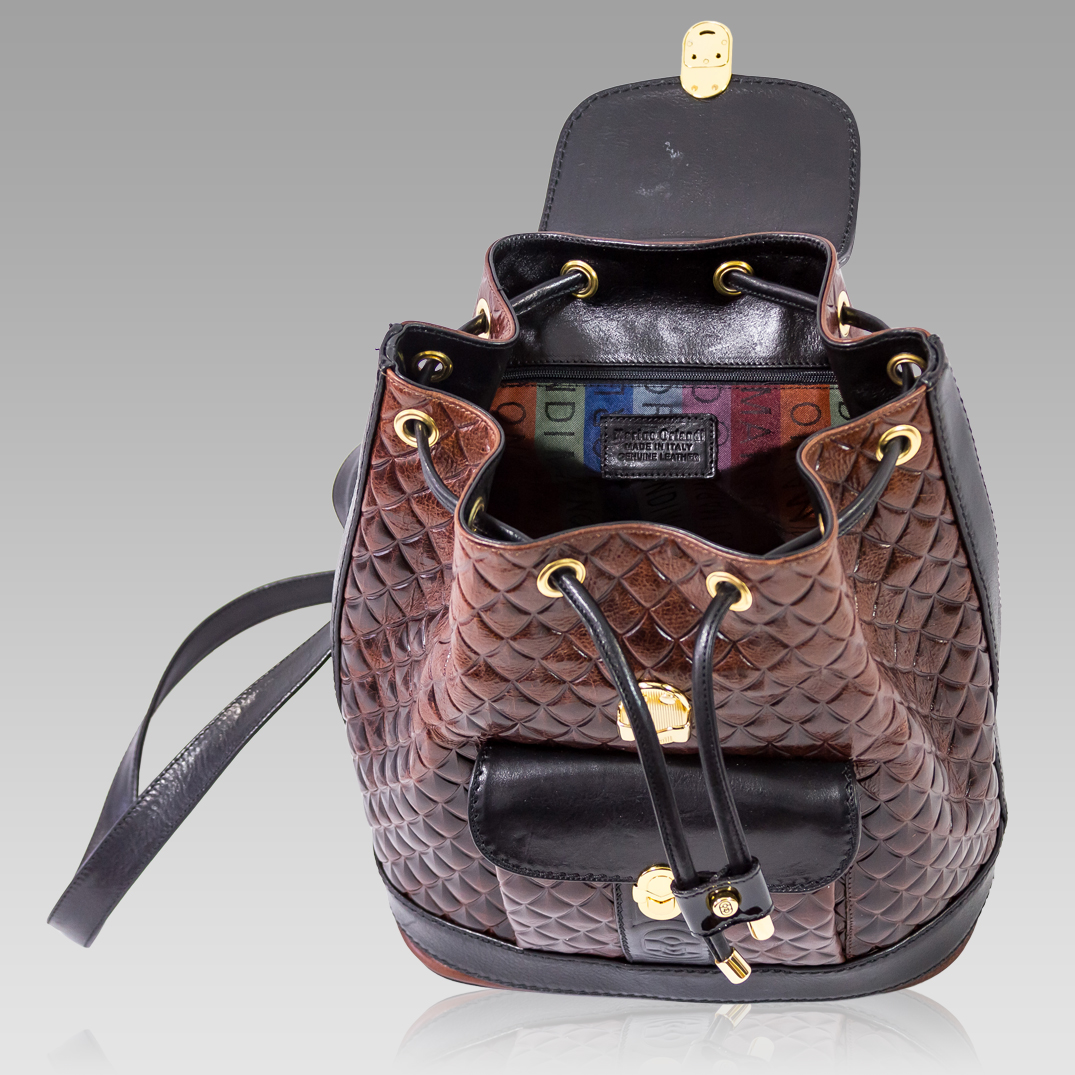 Marino Orlandi Mahogany Brown Quilted Leather Backpack
