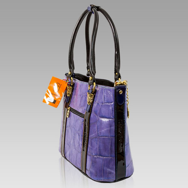Marino Orlandi Purple Croc Leather Purse Large Tote Handbag