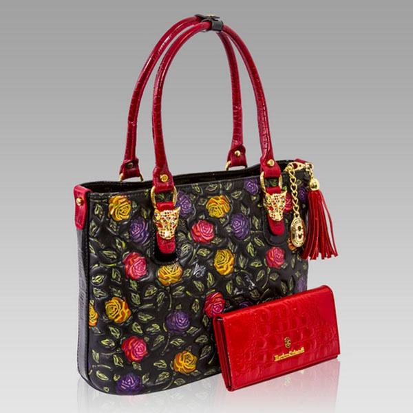 Marino Orlandi Designer Handpainted Red Roses Leather Tote  Wallet ... 4400913165758