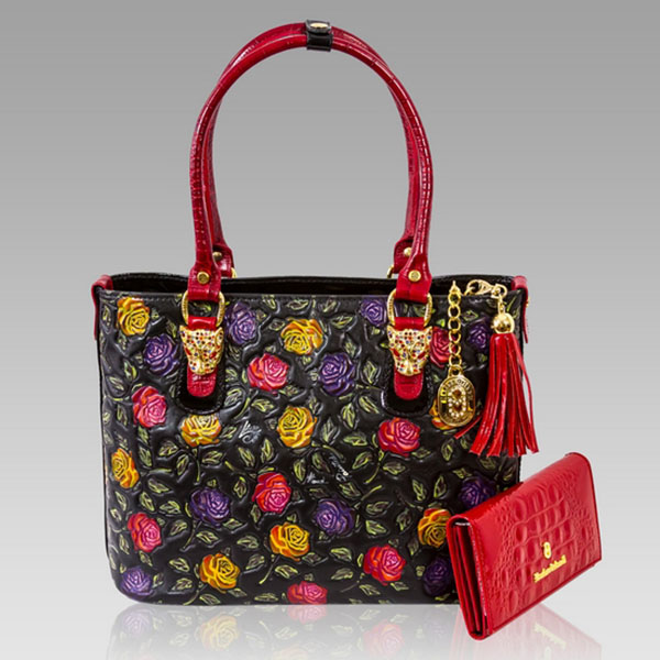 ... Marino Orlandi Designer Handpainted Red Roses Leather Tote  Wallet ... 0115c0994a96a