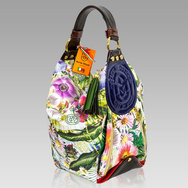 Marino Orlandi Designer Vit Fiore Print Leather Bucket Sling Bag