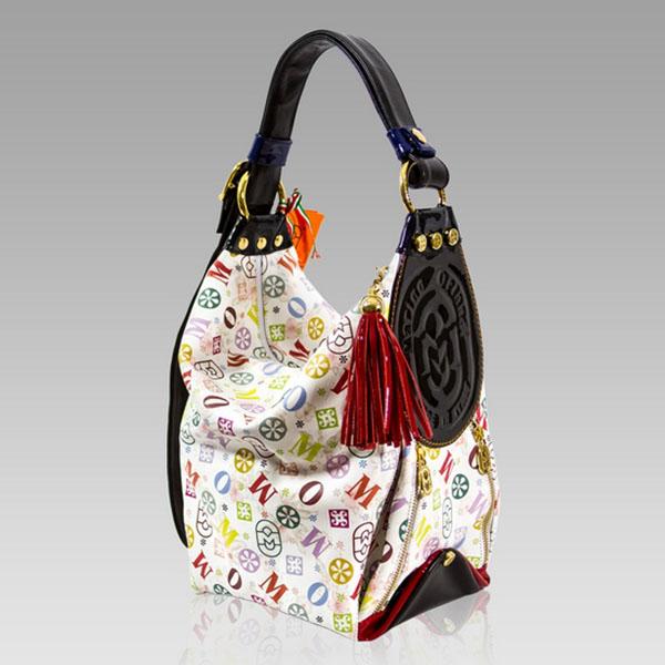 Marino Orlandi Designer Monogram Leather Bucket Sling Purse Bag