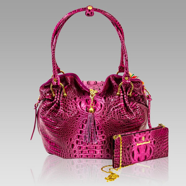 Marino Orlandi Designer Pink Alligator Leather Bag Amp Chain