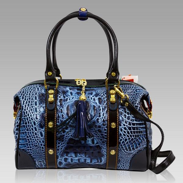 Marino Orlandi Designer Blue Alligator Leather Large