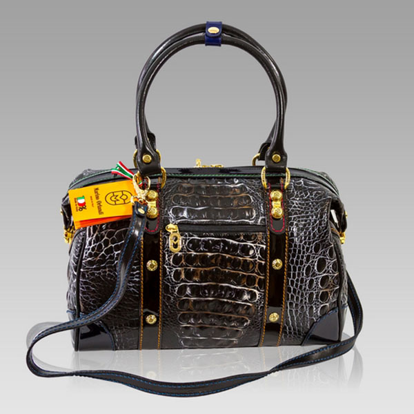 Marino Orlandi Designer Grey Alligator Leather Large Crossobody Bag