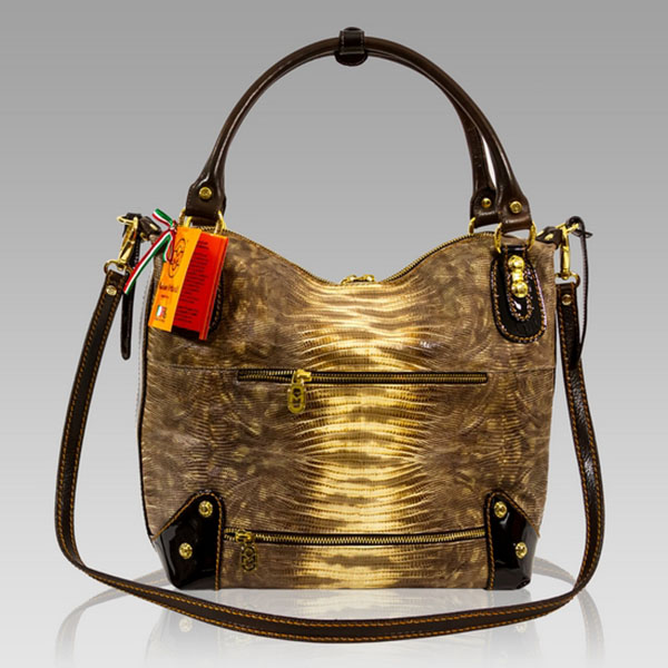 Marino Orlandi Designer Golden Lizard Leather Slouchy Crossbody Bag