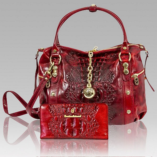 Marino Orlandi Red Alligator Leather Bag Amp Wallet Set