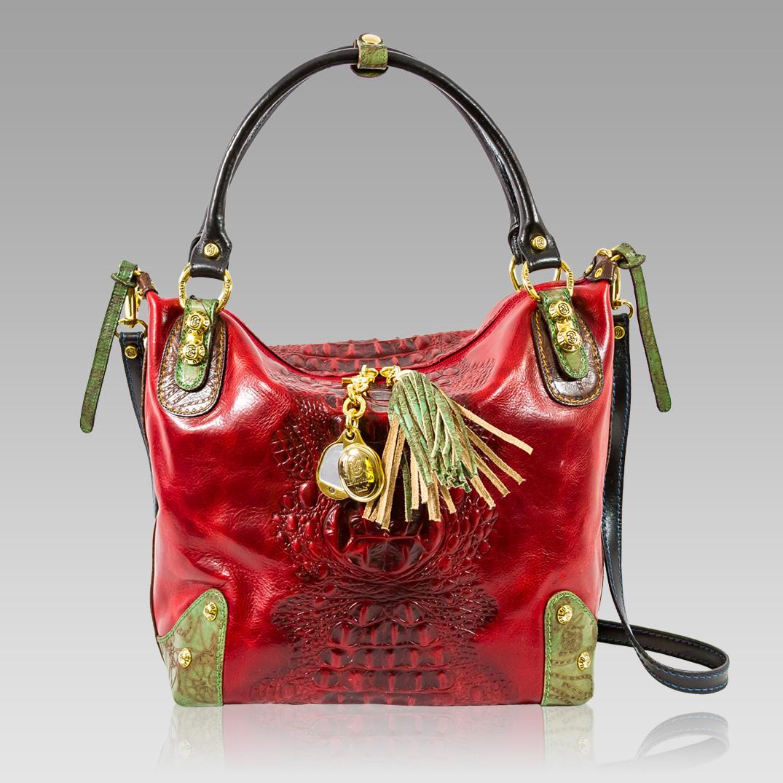 Crossbody Bag Italian Designer Alligator Embossed