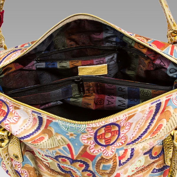 Marino Orlandi Designer JAPA Floral Printed Leather Large Slouchy Bag