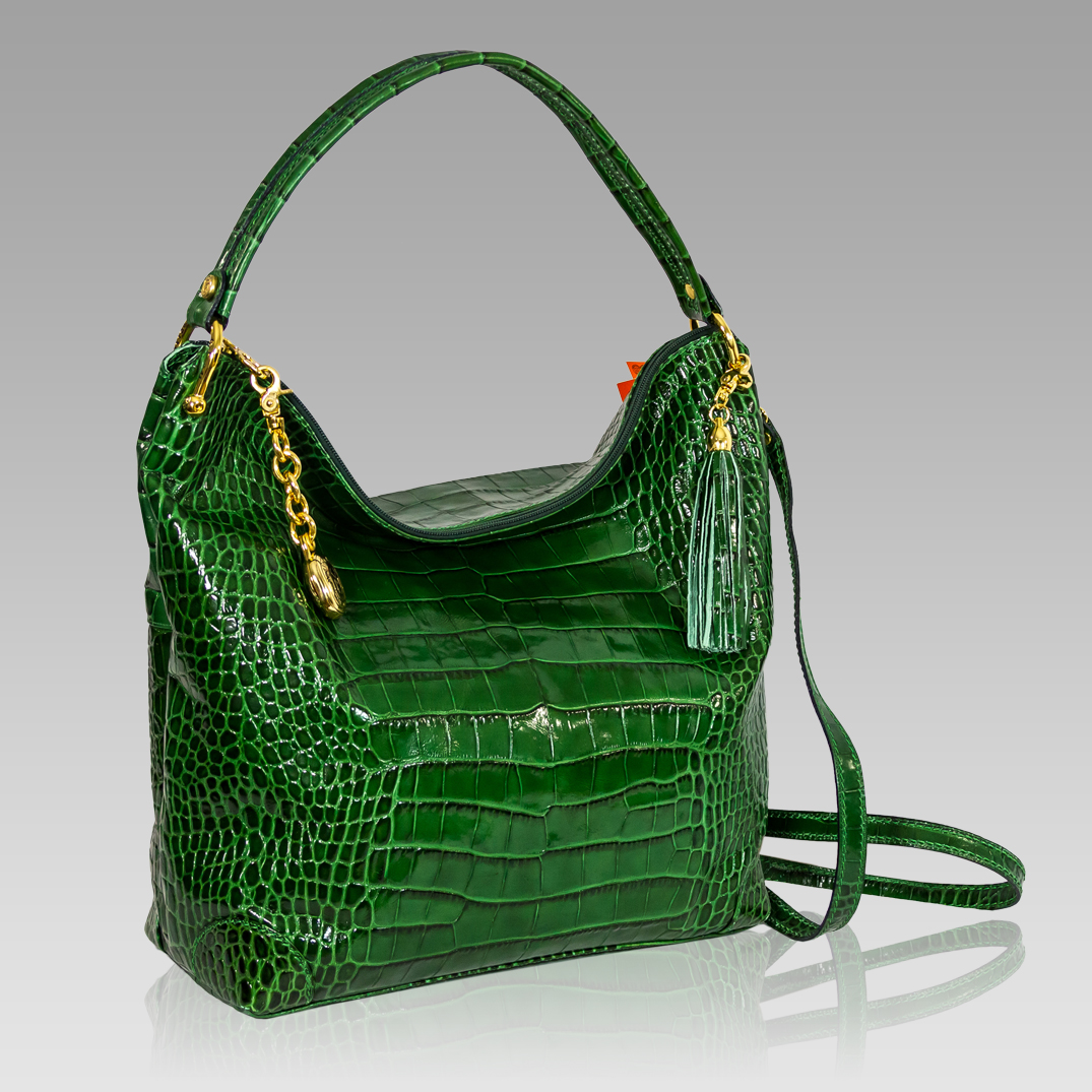 Marino Orlandi Emerald Green Croc Leather Oversized Crossbody Bag