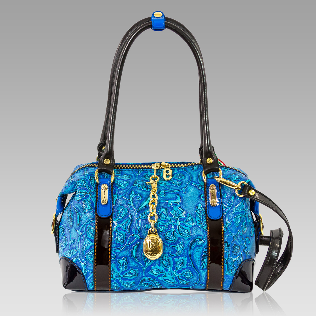Crossbody Bag | Floral Embossed | Aquamarine Leather | Marino Orlandi