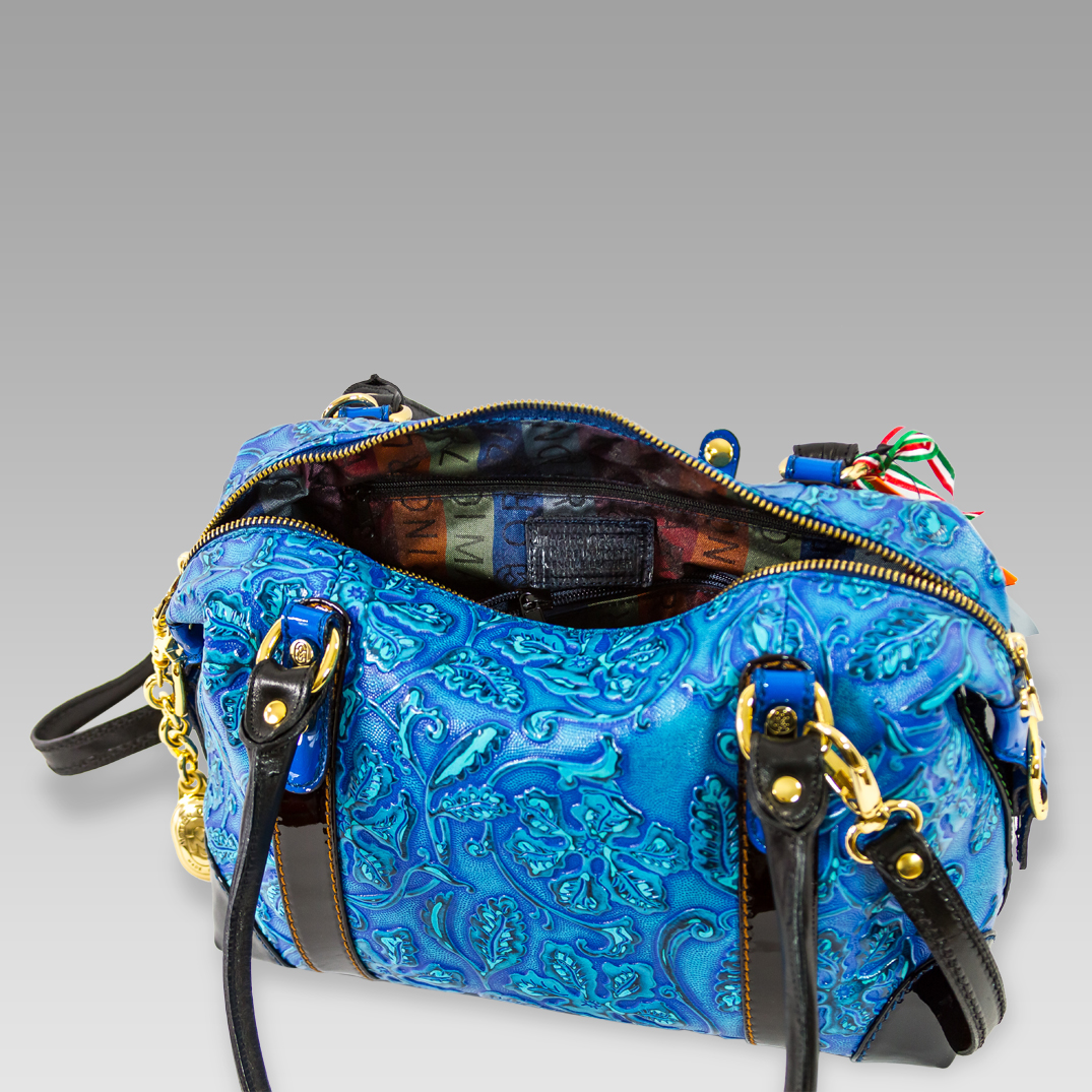 Marino Orlandi Floral Embossed Aquamarine Leather Crossbody Bag