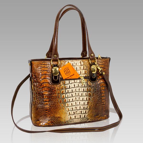 Marino Orlandi Designer Cognac Brown Alligator Leather