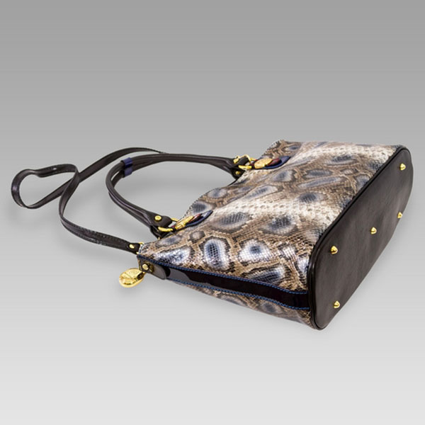 Marino Orlandi Designer Grey Python Leather Large Purse Crossbody Bag