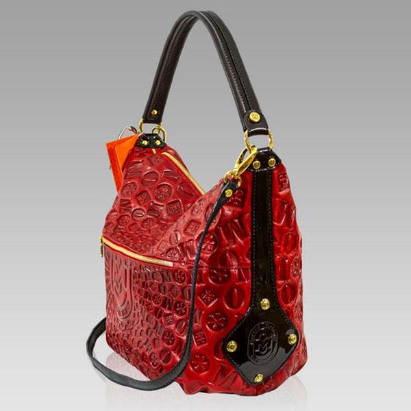 marino orlandi designer monogram red leather large purse slouchy bag marino orlandi designer