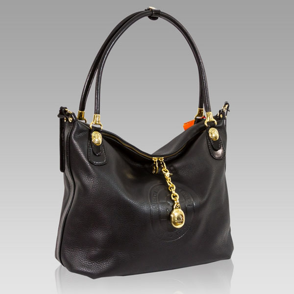 Marino Orlandi Designer Black Leather Slouchy Purse Large Satchel Bag
