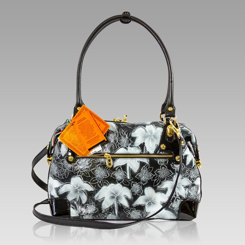 Marino Orlandi + Crossbody Bag + Floral Leather