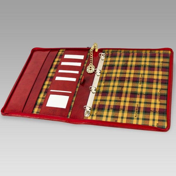 Marino Orlandi Red Glazed Leather Folio Business Case