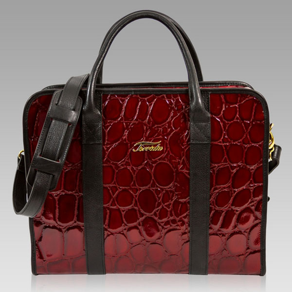 Terrida Designer Pasha Burgundy Croc Leather Briefcase Laptop Case Bag