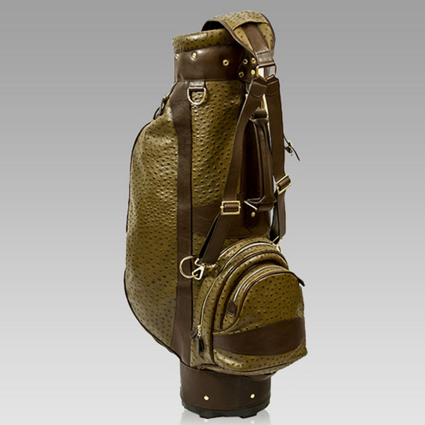 Terrida Italian Designer Brown Ostrich Leather Luxury Golf Bag W/Hood Cover