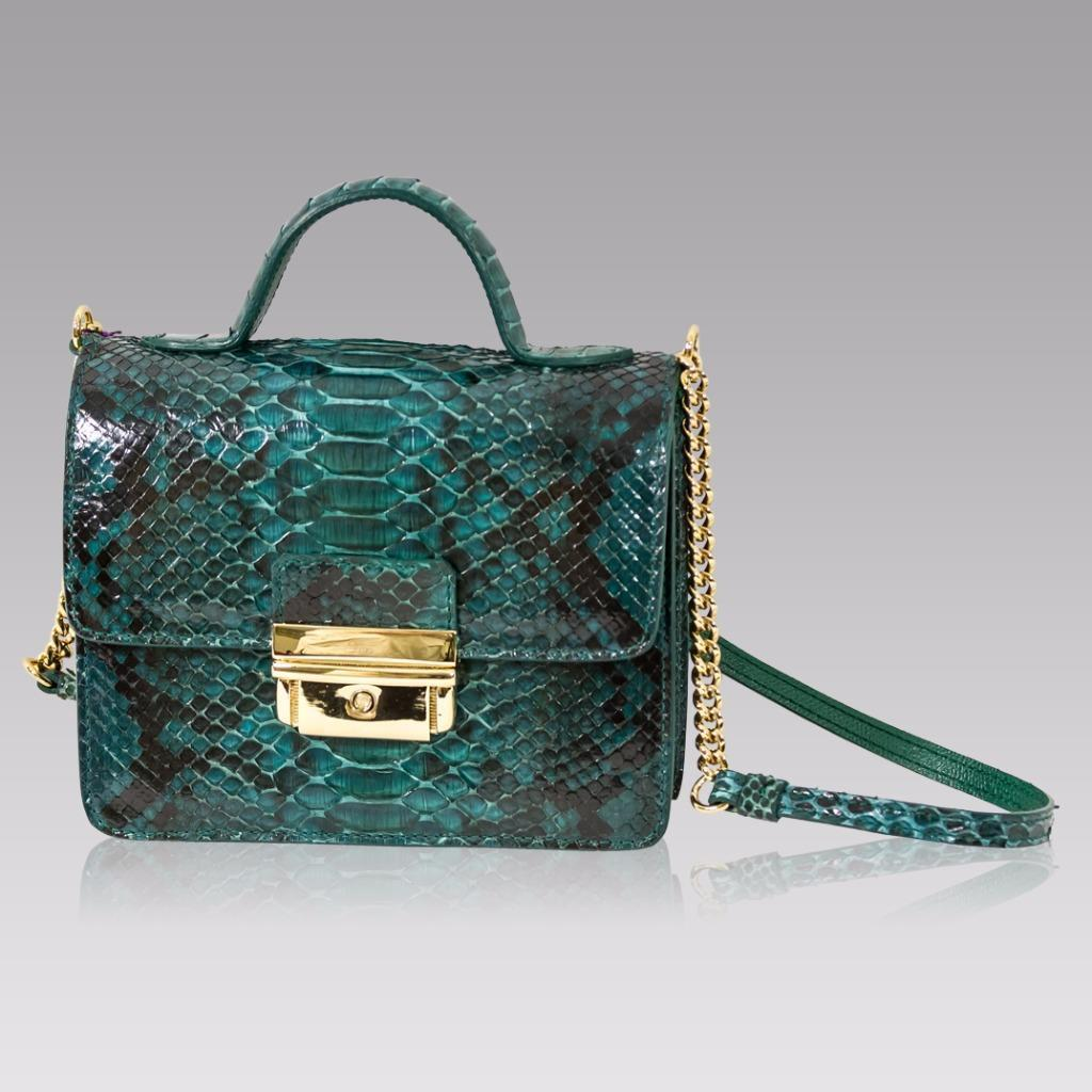 Tina Firenze Emerald Green Python Leather Boxy Messenger Bag