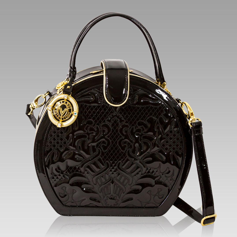 Valentino Orlandi Black Embroidered Leather Circle Handbag