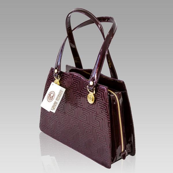 Valentino Orlandi Burgundy Greek Key Patent Leather Handbag