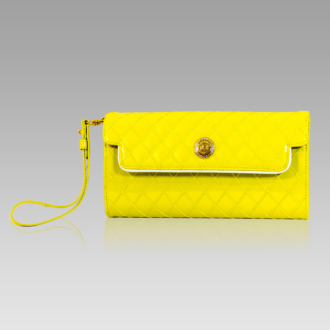 Clutch Wristlet Yellow Quilted Leather Valentino