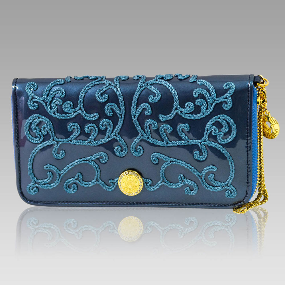 Valentino Orlandi Large Wallet Embroidered Leather Clutch in Peacock