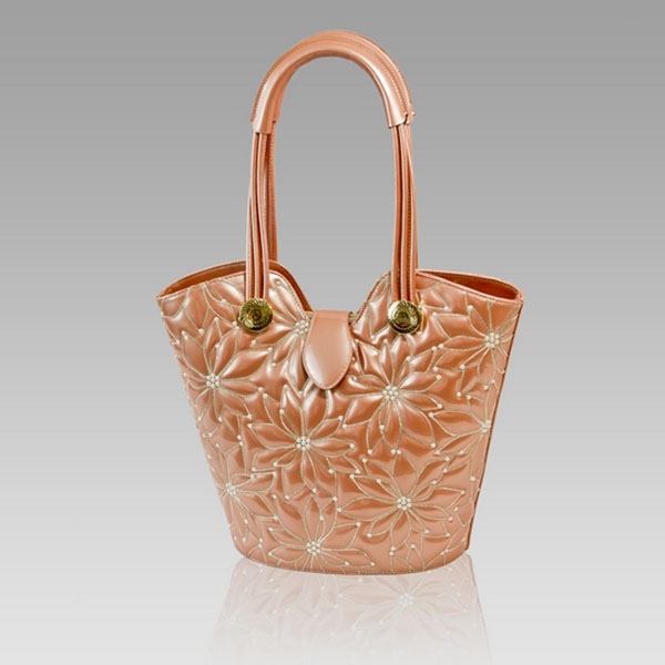 Valentino Orlandi Designer Copper Embroidered Leather Purse Bucket Bag