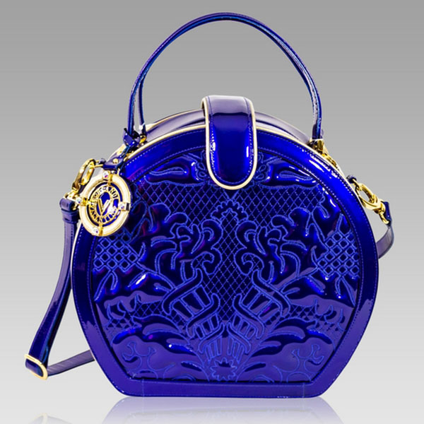 Valentino Orlandi Cobalt Blue Embroidered Leather Circle Bag