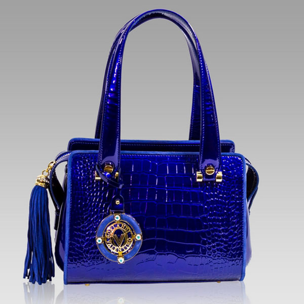 Valentino Orlandi Cobalt Blue Croc Leather Boxy Handbag