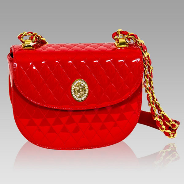 Valentino Orlandi Red Quilted Leather Circle Messenger Bag W Chain