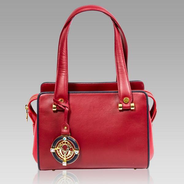 Valentino Orlandi Red Leather Purse Satchel Boxy Bag