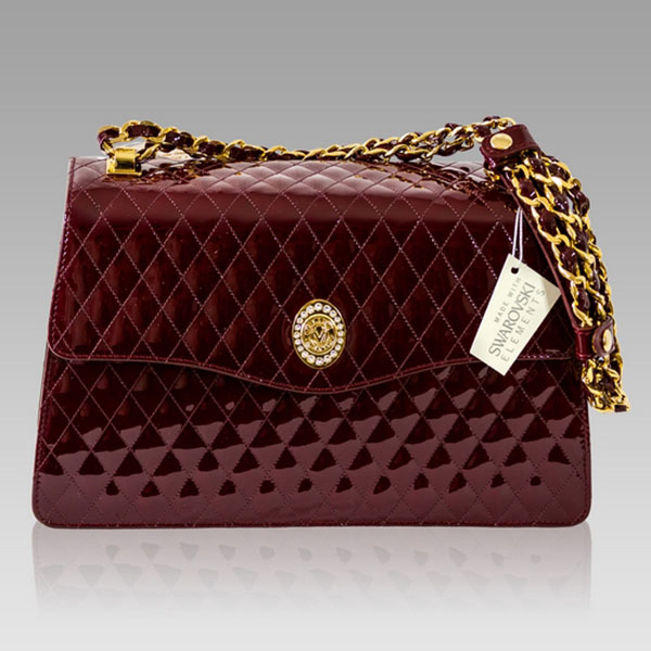 Valentino Orlandi Burgundy Quilted Leather Purse Messenger Bag