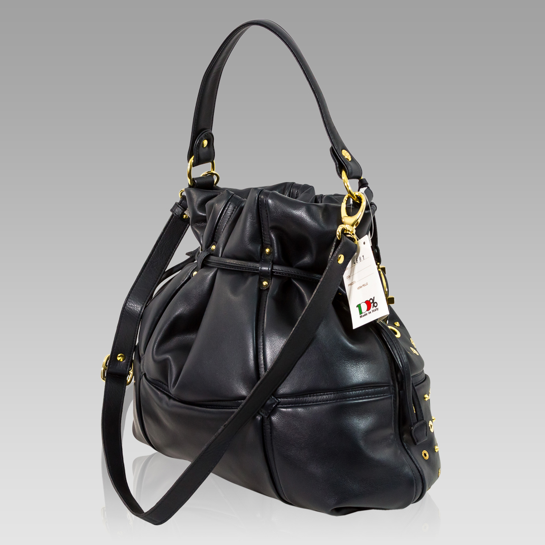 Drawstring Handbag | Italian Blue Grommets Leather | Valentino Orlandi