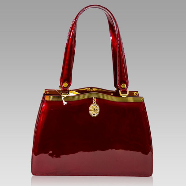 ccac0482f Valentino Orlandi Italian Crimson Red Patent Leather Satchel Purse Bag