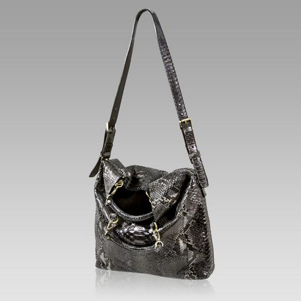 Ghibli Onyx Black Python Leather Tote Convertible Bag