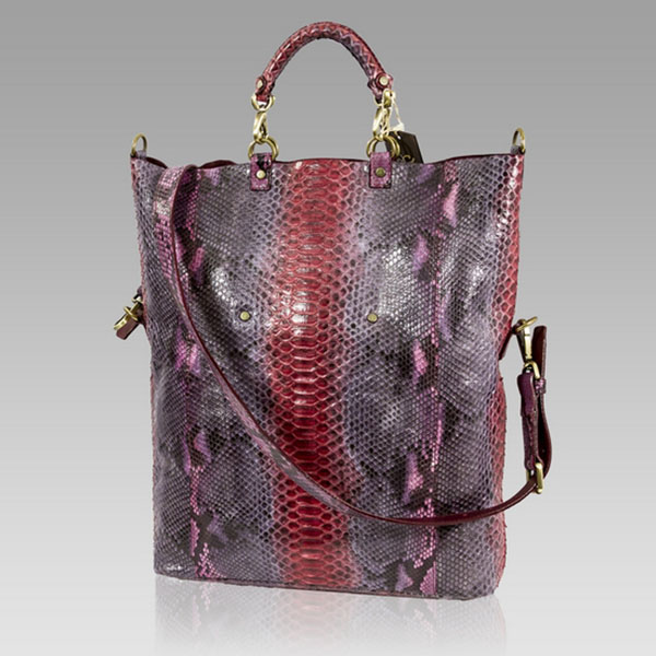 Ghibli Designer Tourmaline Pink Python Leather Tote Convertible Bag