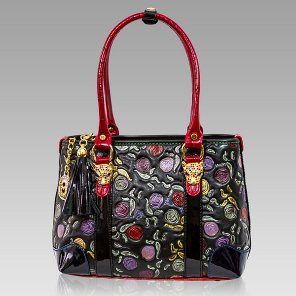 Marino Orlandi Handpainted Red Roses Leather Tote w  Leopard Heads 3052002a29331