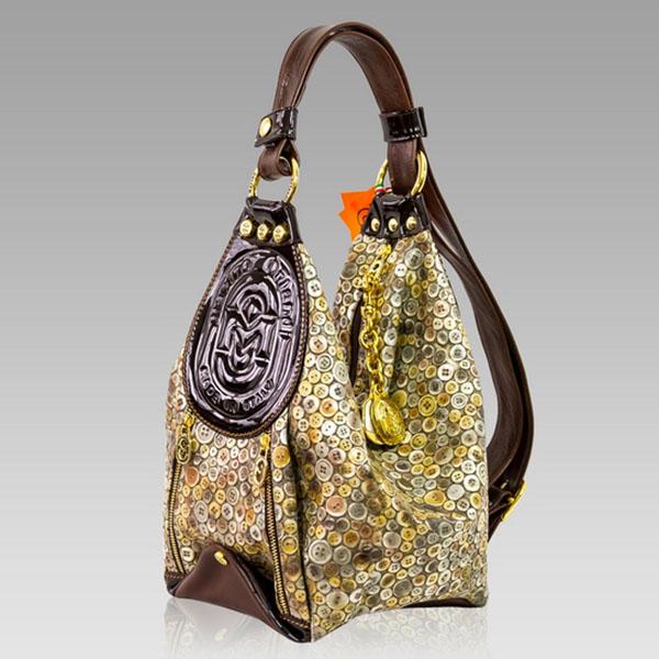 Marino Orlandi Bucket Sling Bag Brown Embossed Leather