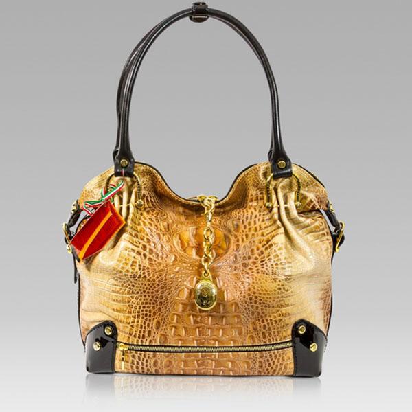 Marino Orlandi Designer Cognac Alligator Leather Large