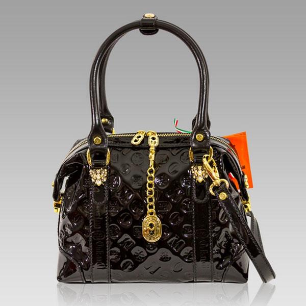 Marino Orlandi Designer Black Patent Monogram Leather