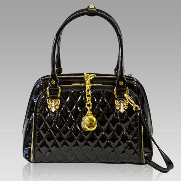 Marino Orlandi Designer Black Patent Chanel Leather