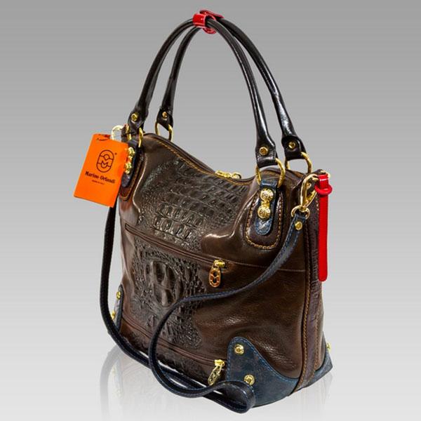 Marino Orlandi Designer Brown Alligator Leather Purse