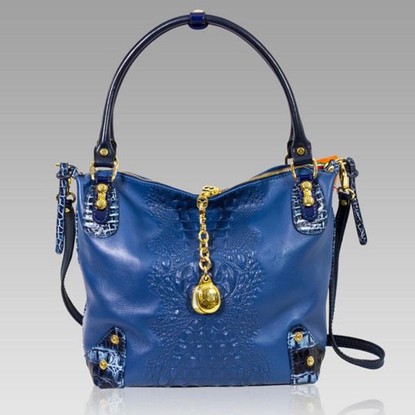 Marino Orlandi Designer Blue Alligator Embossed Leather